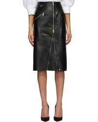 Alexander McQueen ブラック レザー ペンシル スカート