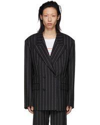 Versace ブラック ウール ロゴ ピンストライプ ブレザー