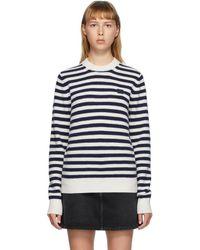 Acne Studios ネイビー And ホワイト Breton ストライプ セーター - ブルー