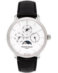 Frederique Constant シルバー & ブラック Slimline パーペチュアル カレンダー 腕時計