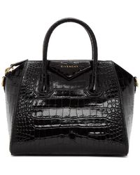 Givenchy Sac embosse facon croco noir Small Antigona