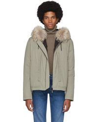 Army by Yves Salomon Beige Down And Fur Puffer Jacket - Natural