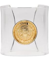 Balmain - Transparent Gold Coin Cuff Bracelet - Lyst