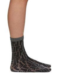 Fendi Black Short Lurex Socks