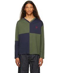 Wales Bonner T-shirt à manches longues milton vert et bleu marine à carreaux