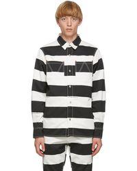 Vyner Articles ブラック & ホワイト ストライプ プリント ワーカー シャツ