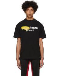 Palm Angels ブラック Los Angeles スプレー T シャツ