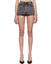 Pushbutton Black Mini Denim Skirt Shorts