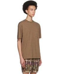 Beams Plus Khaki Striped Nep Border T-shirt - Green