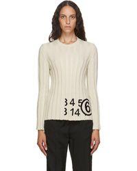 MM6 by Maison Martin Margiela オフホワイト ニット ロゴ セーター