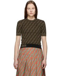 79322e2dea193 Fendi - Black And Brown Knit Forever T-shirt - Lyst