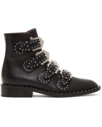 Givenchy - Black Buckled Leather Stud Boots - Lyst