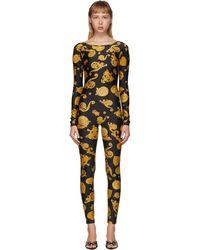 Versace Jeans Couture ブラック バロッコ ジュエル ジャンプスーツ