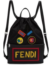 Fendi | Black Nylon Logo Drawstring Backpack | Lyst