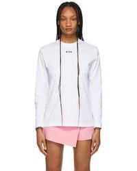 MSGM T-shirt à manches longues blanc à petit logo