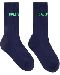 Balenciaga ネイビー Tennis ロゴ ソックス - ブルー