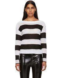 Rag & Bone - Black And White Striped Allie Boatneck Sweater - Lyst