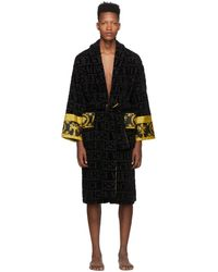 Versace Black Logo Barocco Robe