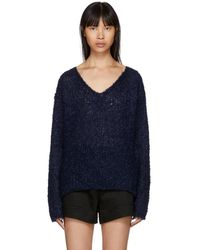 Rag & Bone - Navy Freda V-neck Jumper - Lyst