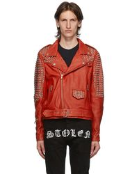 Stolen Girlfriends Club Red Leather Motor City Biker Jacket