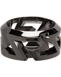 Versace Gunmetal Greca Ring - Multicolour