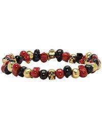 Alexander McQueen - Black And Red Beaded Skull Bracelet - Lyst