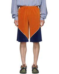 Gucci Orange Velvet Shorts