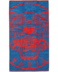 KENZO - Blue And Red Tiger Beach Towel - Lyst