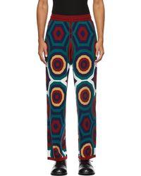 Charles Jeffrey LOVERBOY Wool Hex Tracksuit Lounge Pants - Blue