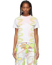 Collina Strada Ssense Exclusive Multicolour Squiggle Pierced T-shirt - Green