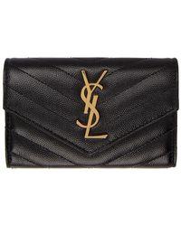 Saint Laurent Black And Gold Small Monogramme Envelope Wallet