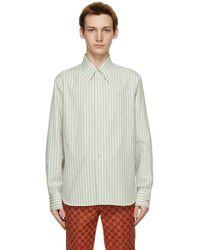 Gucci - オフホワイト And ブルー ストライプ シャツ - Lyst