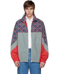 Gucci マルチカラー トラック ジップアップ セーター - ブルー