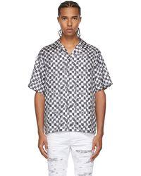 Amiri グレー & ホワイト シルク チェック ショート スリーブ シャツ - ブラック