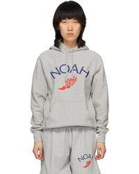 Noah Grey Wing Foot Embroidered Hoodie