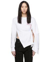 ROKH White Embroidered Pinch Detail Sweatshirt