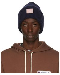 Acne Studios Navy And Pink Rib Knit Patch Beanie - Multicolour
