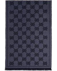 Gucci - Foulard en laine bleu GG - Lyst