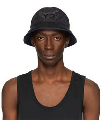 Y-3 Reversible Black And Navy Logo Bucket Hat