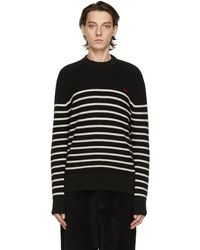 AMI ブラック & ホワイト Breton ストライプ セーター