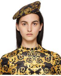 Versace Jeans Couture ブラック & ゴールド Baroque New ロゴ ベレー