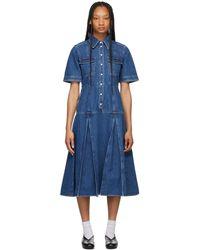 Wales Bonner ブルー Saint Catherine デニム シャツ ドレス