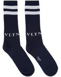Valentino Navy And Gray Valentino Garavani Vltn Socks - Blue