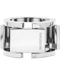 Balenciaga Silver Flat Ring - Metallic
