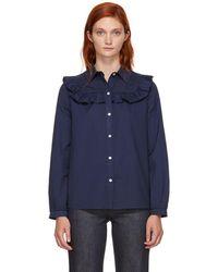 A.P.C. - Navy Memphis Shirt - Lyst