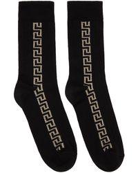 Versace ブラック & ゴールド Greca ソックス