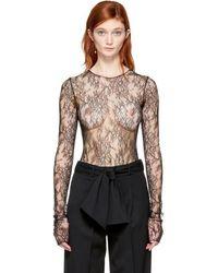 Lanvin - Black Lace Bodysuit - Lyst