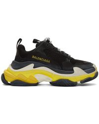 Balenciaga - Black And Yellow Triple S Sneakers - Lyst