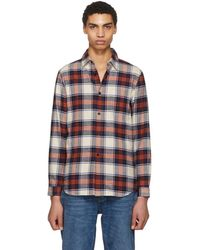 John Elliott - Red And Navy Plaid Shirt - Lyst