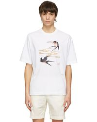 Dunhill ホワイト Spring Swallows T シャツ